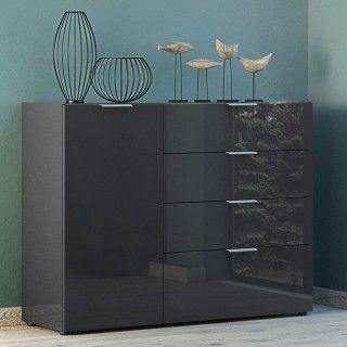 Dressoir Dudek 134cm met 4 lades & 1 deur - zwart