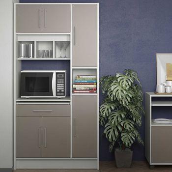 Keukenkast Louise voor magnetron - wit/taupegrijs
