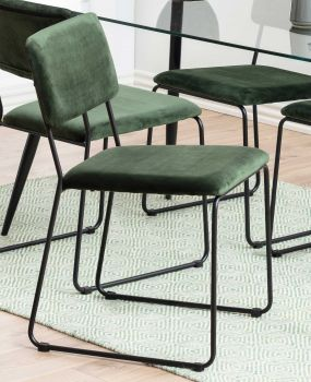 Set van 2 fluwelen stoelen Nelly - bosgroen/zwart