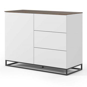 Dressoir Join 120cm met metalen onderstel, 1 deur en 3 laden - mat wit/walnoot