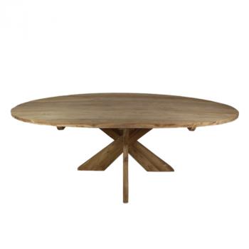 Eettafel Mosy 180x100cm ovaal met kruispoot – naturel/teak