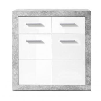 Commode Stanno 82 cm met 2 deuren & 2 lades - beton/wit