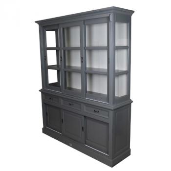Buffetkast Provence 180 cm met 6 deuren & 3 lades - donkergrijs/wit