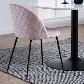 Set van 2 gestoffeerde stoelen Isa - lichtroze/zwart
