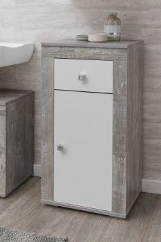 Badkamerkastje Rutger 1 lade & 1 deur - wit/beton