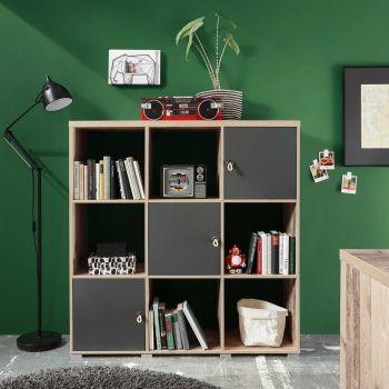 Boekenkast Moleskin met 3 deuren - antraciet/old style