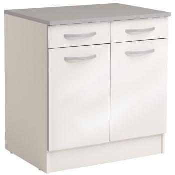 Onderkast Spoon 80 cm met 2 laden en 2 deuren - glossy white