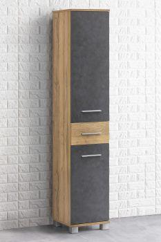 Kolomkast Kao 1 lade & 2 deuren - oude eik/grafietgrijs