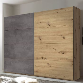Kledingkast Paslack 240cm met 2 deuren - oude eik/beton