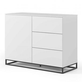 Dressoir Join 120cm met metalen onderstel, 1 deur en 3 laden - mat wit