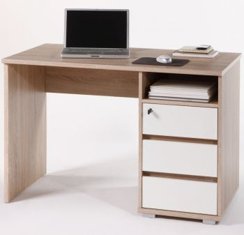Bureau Primos 110cm met 3 lades - eik/wit