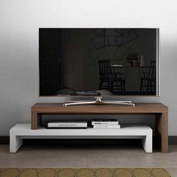 Tv-meubel Cliff 125cm - wit/walnoot