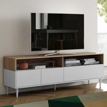 Tv-meubel Horizon 180cm - eik/wit