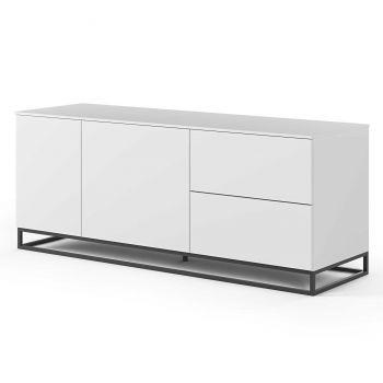 Dressoir Join 160cm met metalen onderstel, 2 deuren en 2 laden - mat wit