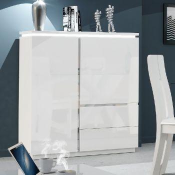 Buffetkast Elif 110cm met 2 deuren & 2 lades - hoogglans wit