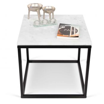 Bijzettafel Prairie - wit marmer/staal