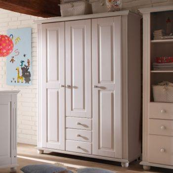 Kledingkast Laurel 131cm met 3 deuren & 3 lades - wit