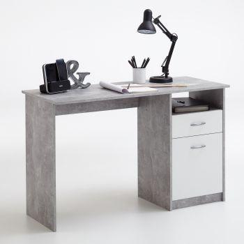 Bureau Jady 123cm - beton/wit