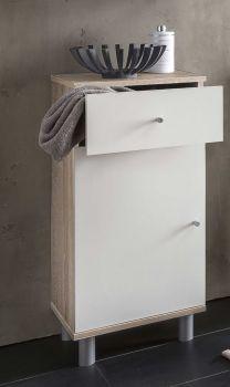 Badkamerkast Benja 1 deur & 1 lade - wit/eik