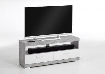 Tv-meubel Cristal 120cm - beton/hoogglans wit