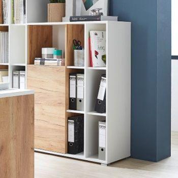 Boeken- en opbergkast Lloris met 1 deur - wit/eik
