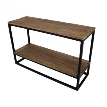 Bijzettafel Dens 120x40 met onderplank - oud hout/ijzer