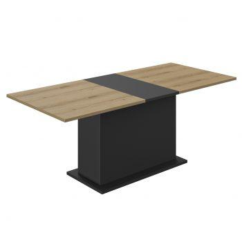 Verlengbare eettafel Tando 160/200cm met centrale voet - eik/zwart