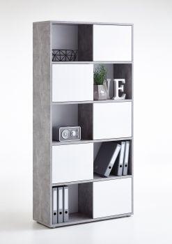 Opbergkast Futura hoog - beton/hoogglans wit