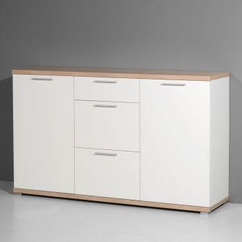 Dressoir Tosun 144 cm met 2 deuren & 3 lades - wit/eik