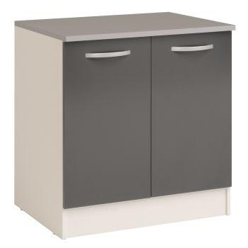 Onderkast Eko 80 cm voor spoelbak met 2 deuren - grijs