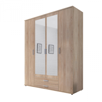 Kledingkast Semina 160cm met 4 deuren 2 lades & spiegel - eik