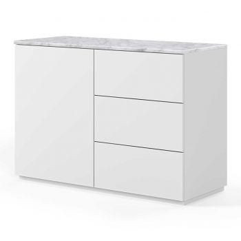Dressoir Join 120cm met 1 deur en 3 laden - mat wit/wit marmer