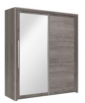 Kledingkast Raltas 191cm met 2 schuifdeuren & spiegel - kastanje