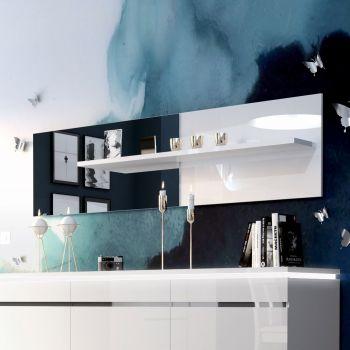 Spiegel Elif met legplankje - hoogglans wit