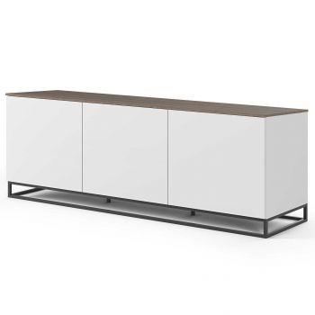 Dressoir Join 180cm laag model met metalen onderstel en 3 deuren - mat wit/walnoot