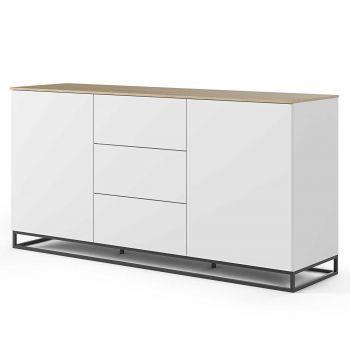 Dressoir Join 180cm met metalen onderstel, 2 deuren en 3 laden - mat wit/eik