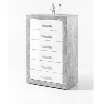 Ladekast Stanno 66cm met 6 lades - beton/wit
