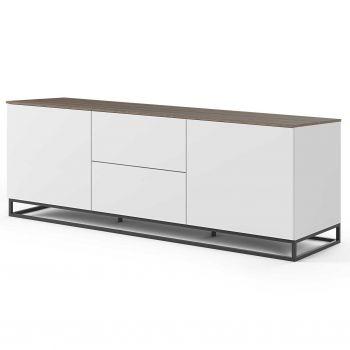 Dressoir Join 180cm met metalen onderstel, 2 deuren en 2 laden - mat wit/walnoot