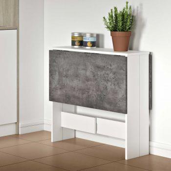 Eettafel Papillon 103 cm - wit/beton