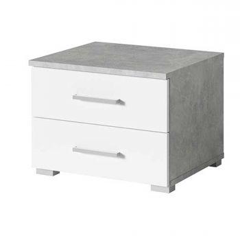 Nachtkastje Soma 2 lades - wit/beton