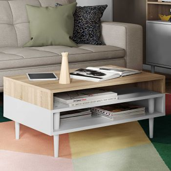Salontafel Horizon - eik/wit