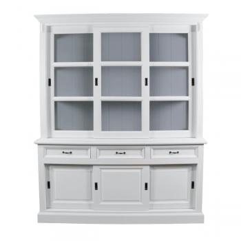 Buffetkast Provence 180 cm met 6 deuren & 3 lades - wit/grijs