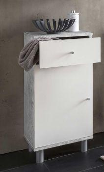 Badkamerkast Benja 1 deur & 1 lade - wit/beton