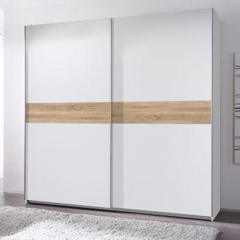 Kledingkast Wouter 215cm met 2 deuren - wit/eik