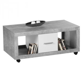 Salontafel Stanno 115cm met 2 lades - beton/wit