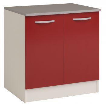 Onderkast Eko 80 cm voor spoelbak met 2 deuren - rood