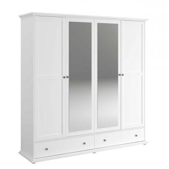 Kledingkast Morgane 199cm met 4 deuren & spiegel - wit