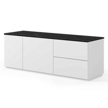 Dressoir Join 160cm met 2 deuren en 2 laden - mat wit/zwart marmer