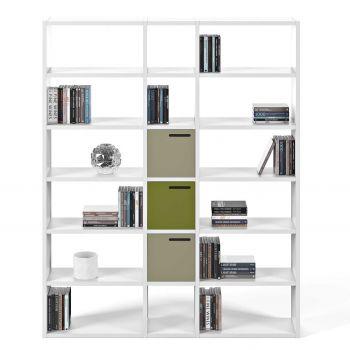 Boekenkast Pombal 18 vakken breed - wit