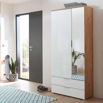 Garderobekast Tille 84cm met 2 deuren & 2 lades - wit/eik